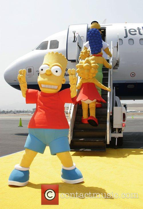Unveiling of Jet Blue's 'Simpson's' themed airplane at...