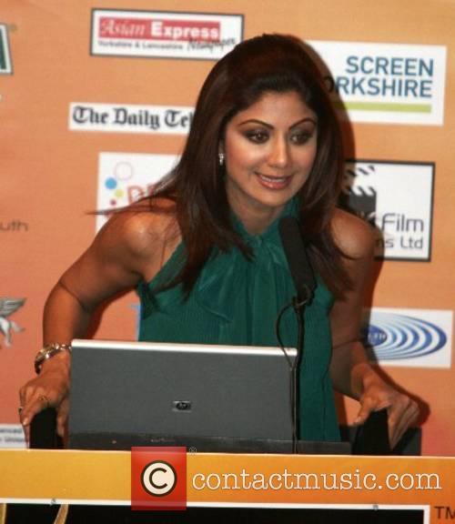 Shilpa Shetty at the Bollywood awards press conference...