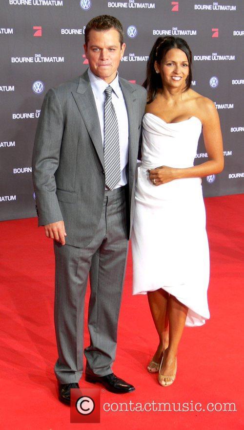 Matt Damon and wife Luciana Bozan German premiere...
