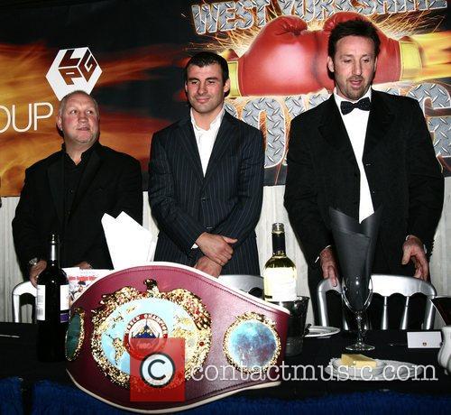 joe calzaghe at a boxing dinner held at...