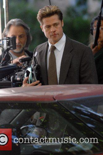 Brad Pitt on the film set of 'Burn...