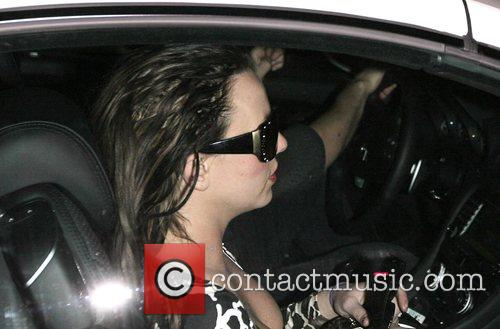 Britney Spears and Sam Lufti drive through the...