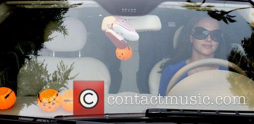 Britney Spears driving her Mercedes alone in Beverly...