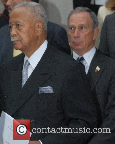 David Dinkins and Michael Bloomberg The funeral of...