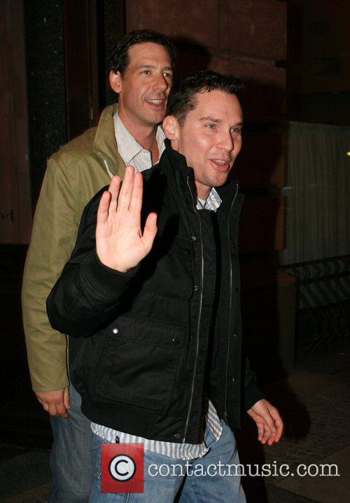 Bryan Singer leaving restaurant Borchardt