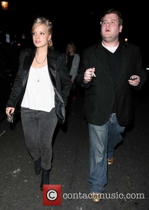 Lily Allen and pal James Corden leave the...
