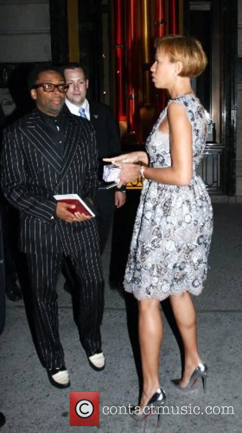Spike Lee and wife Tonya Lewis leaving the...