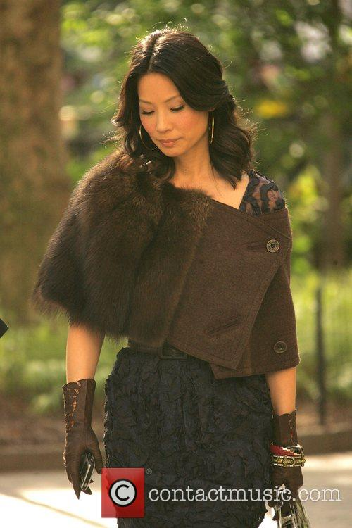 Lucy Liu on the set of the new...