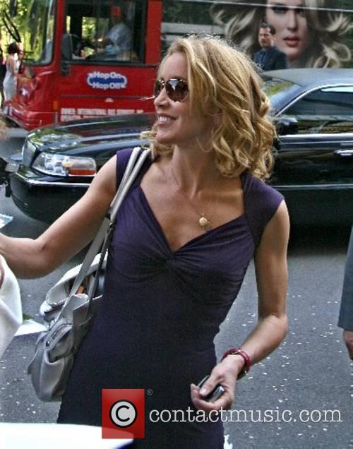 Felicity Huffman arriving at her hotel in Manhatten...