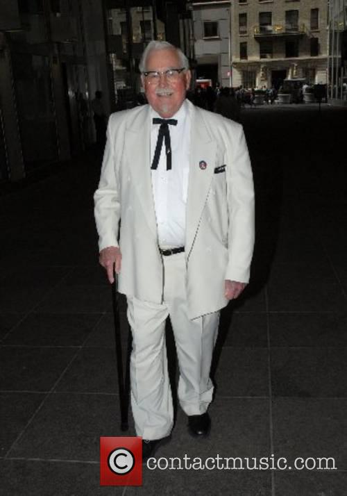 KFC Colonel Sanders look alike outside Fox studios...