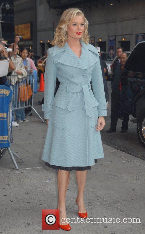 Rebecca Romijn outside Ed Sullivan Theatre for the...