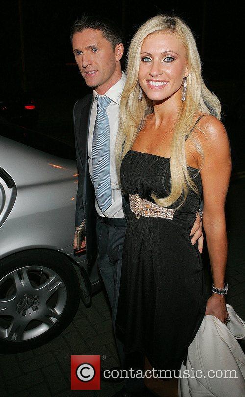 Robbie Keane and Claudine Palmer  outside RTE...