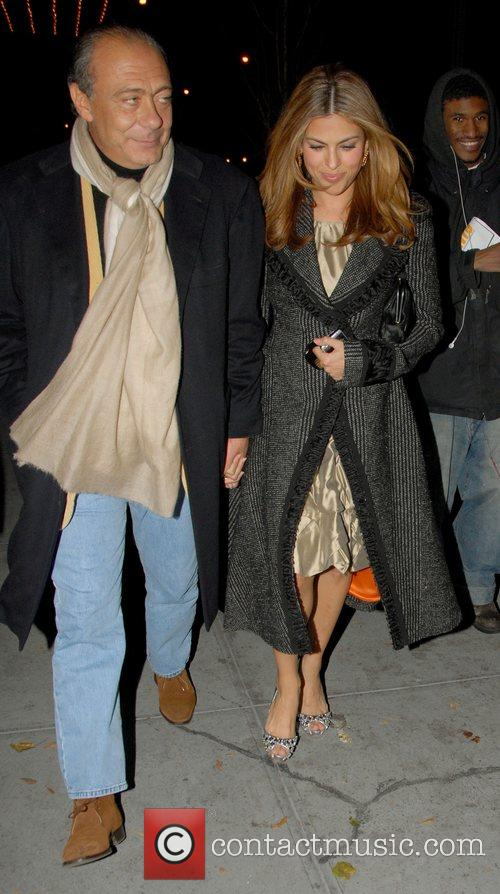Fawaz Gruosi and Eva Mendes leaving her hotel...