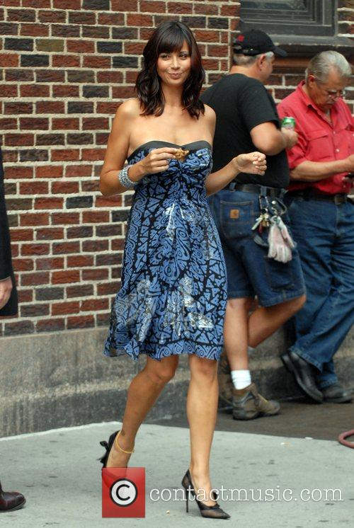 Catherine Bell outside Ed Sullivan Theatre for the...