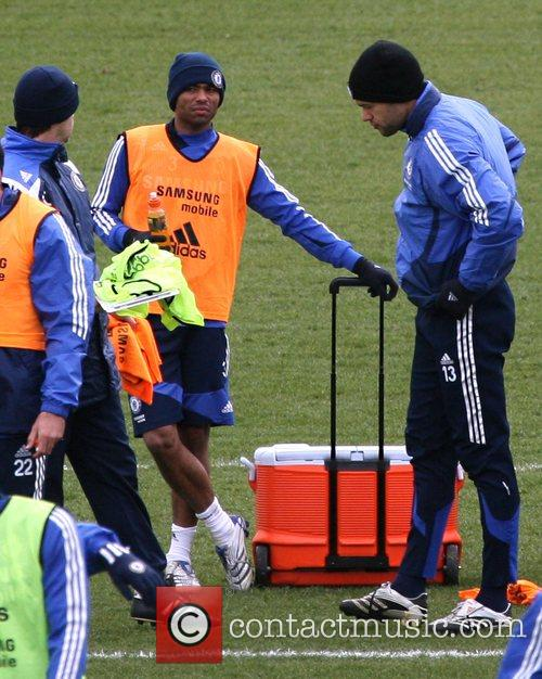Ashley Cole and Michael Ballack  during a...