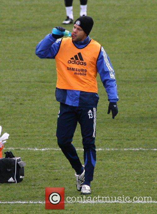 Michael Ballack during a Chelsea Football Club training...