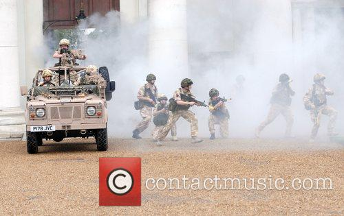 20 Soldiers In Full Combat Gear Perform A Dress Rehearsal Of A Sequence About The War In Afghanistan - With Smoke Machine 8