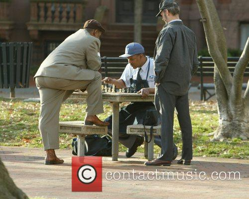 United States mail workers playing chess in Lafayette...