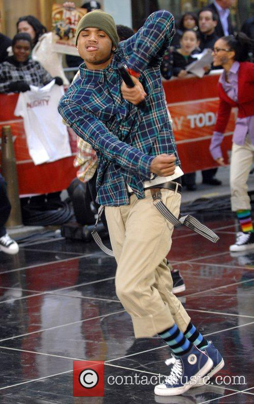 Chris Brown performing live on 'The Today Show...