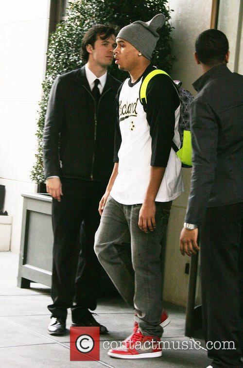 Chris Brown the R&B singer leaving his Manhattan...