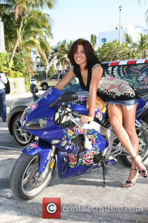 Motorcycles designed by Ed Hardy on display at...