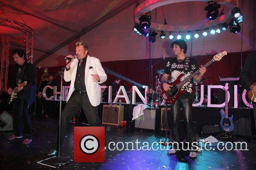 Johnny Halliday Christian Audigier 50th birthday party at...