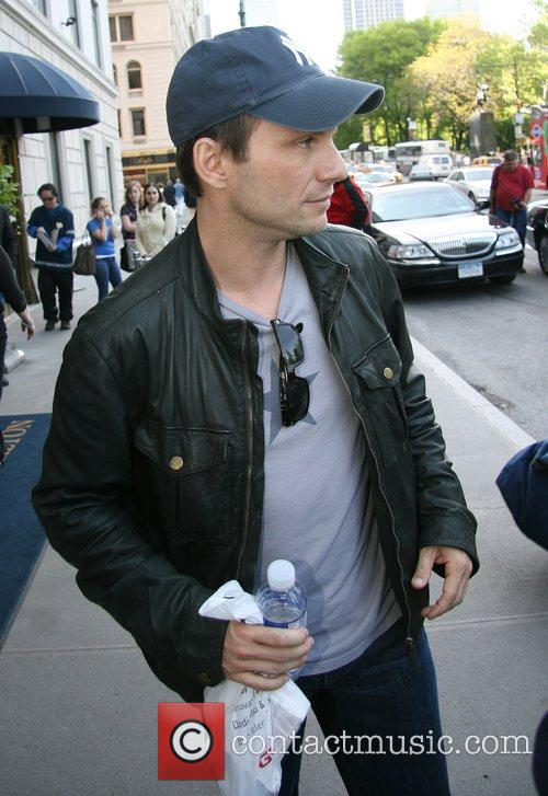 Christian Slater leaving The Ritz-Carlton hotel