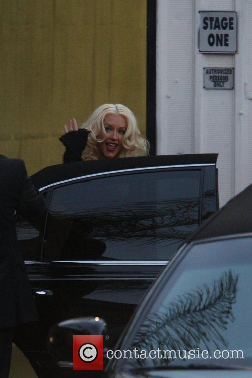 Christina Augilera leaving the Photostudios after being photographed...