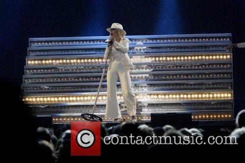 Christine Aguilera performing on her Back To Basics...
