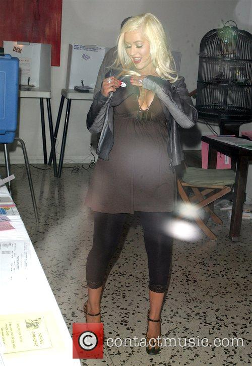 Christina Aguilera places her vote for the presidential...