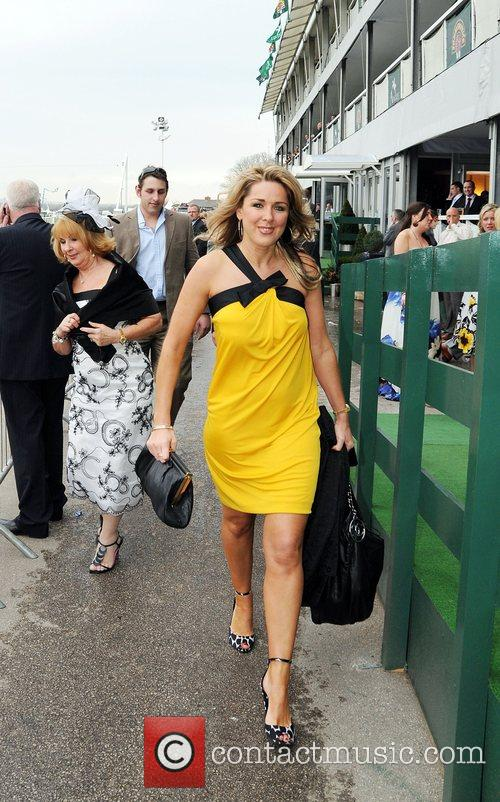 Claire Sweeney at Ladies Day at Aintree Racecourse