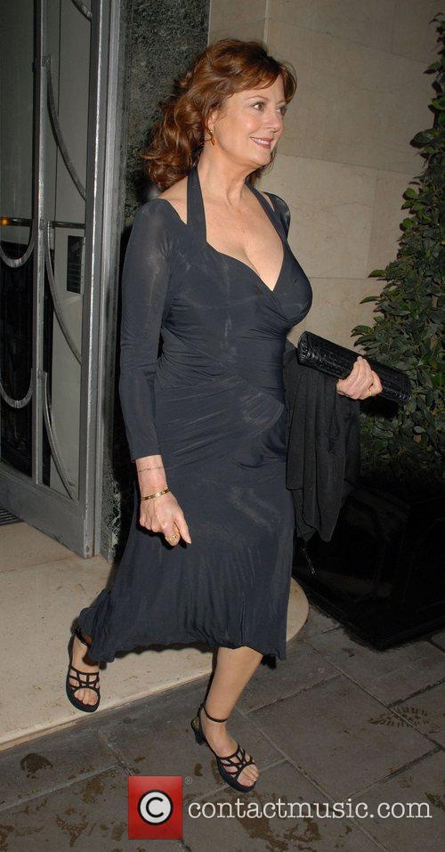 Susan Sarandon leaving Claridge's to go to the...