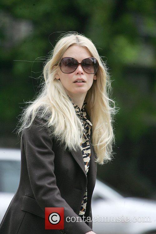 Claudia Schiffer taking her daughter to school London,...