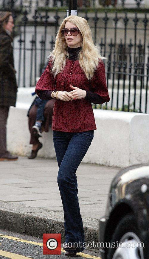 Claudia Schiffer leaving her house