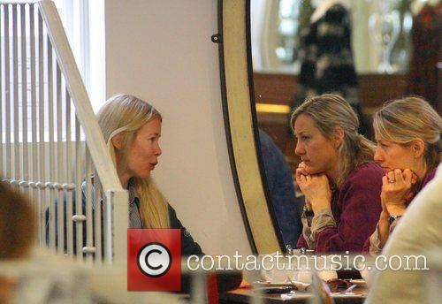 Claudia Schiffer having breakfast with some friends London,...
