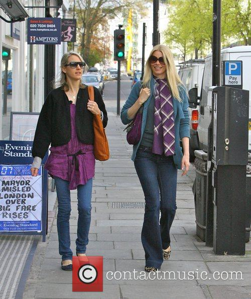Claudia Schiffer and a friend on their way...
