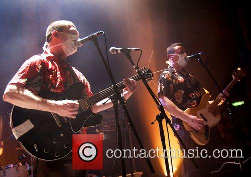 Ade Blackburn and Brian Campbell of Clinic performing...