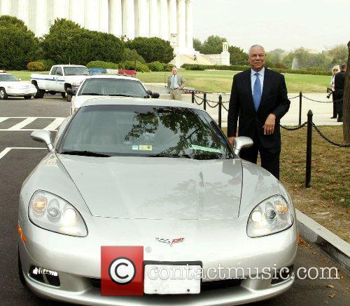 Colin Powell getting into his new Corvette