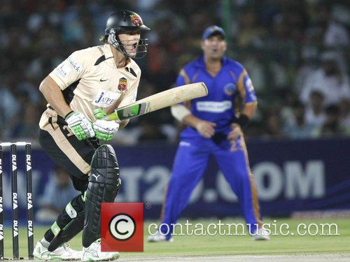 Adam Gilchrist Hyderabad Deccan Chargers plays a shot...