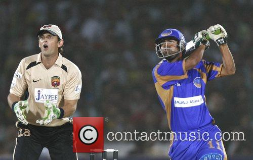 Mohammad Kaif Rajasthan Royals plays a shot during...