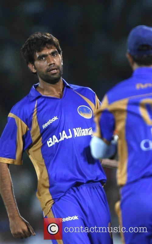 Munaf Patel Rajasthan Royals celebrates with teammates wicket...