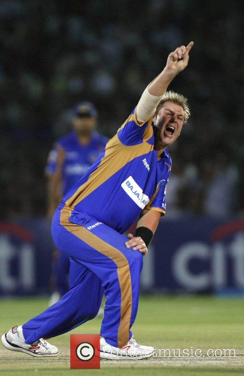 Shane Warne captain of Rajasthan Royals appeals during...