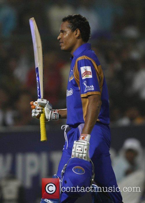 Yusuf Pathan Rajasthan Royals celebrates his half century...