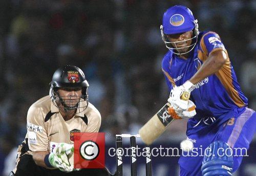 Yusuf Pathan Rajasthan Royals plays a shot during...