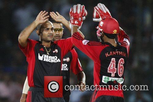 Delhi Daredevils captain Virender Sehwag Celebrates with teammates...