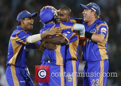 Rajasthan Royals Dimitri Mascarenhas Celebrates with teammates wicket...