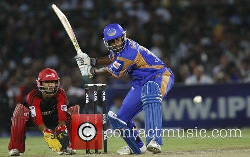 Rajasthan Royals Dimitri Mascarenhas  Plays a shot...