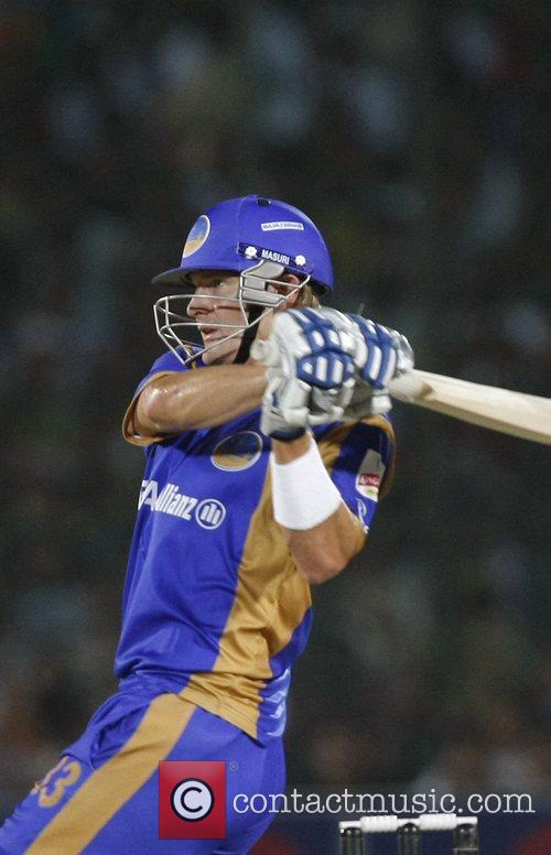 Of the Rajasthan Royals plays a shot during...