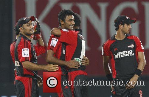 Yo Mahesh, bowler of Delhi Daredevils, celebrates the...