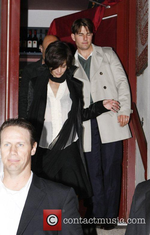 Tom Cruise and Katie Holmes leaving the Salumeria...
